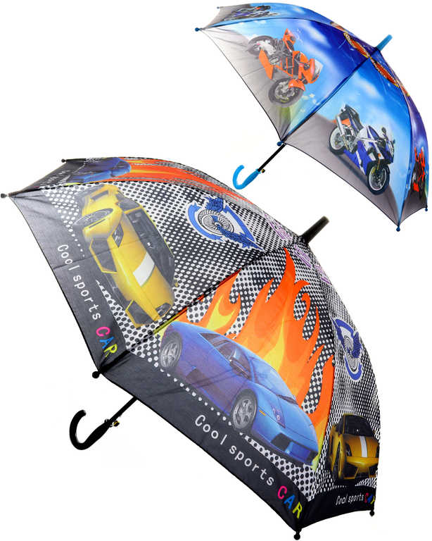 Deštník dětský klučičí Auta / Motorky vystřelovací různé druhy