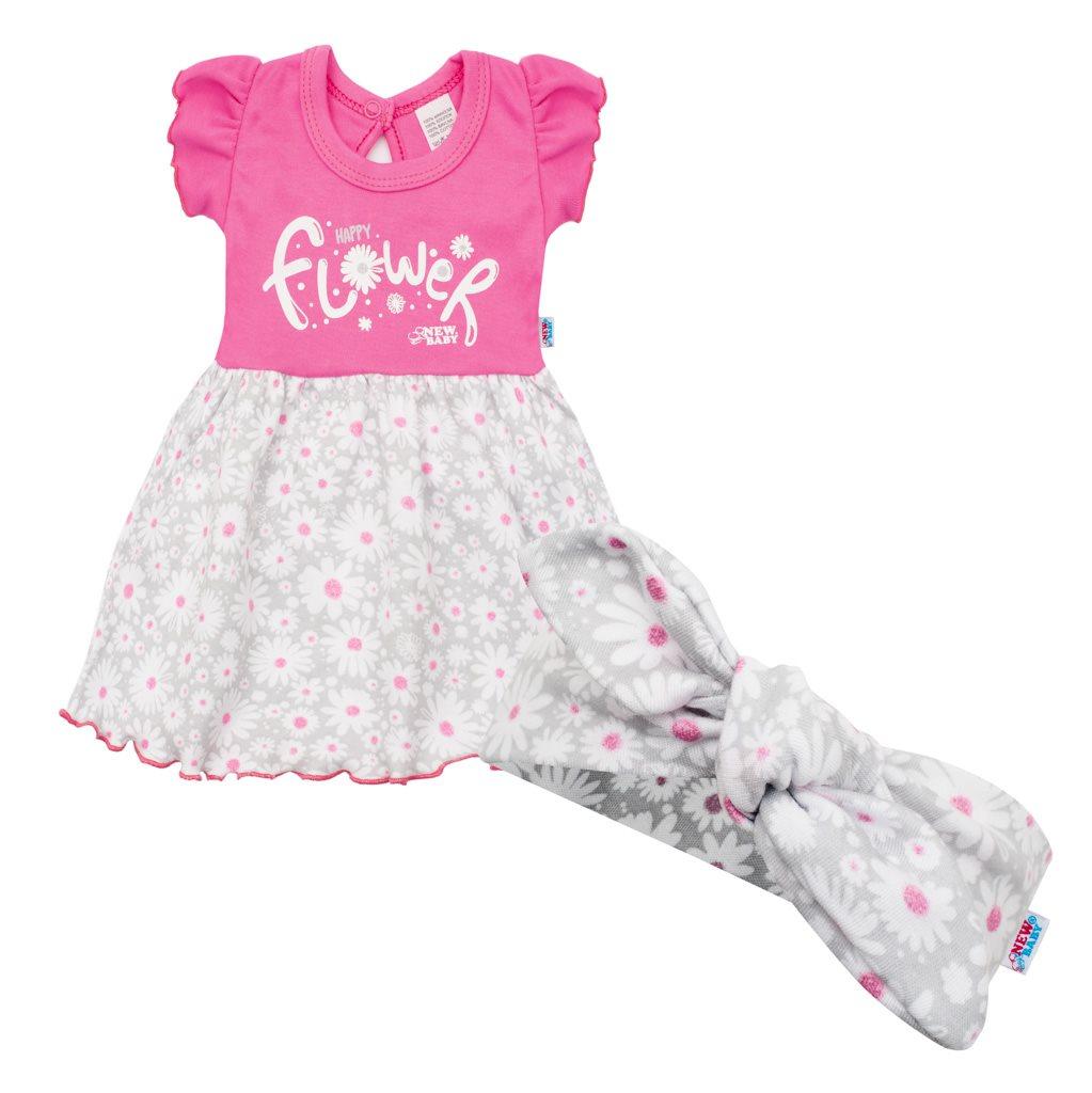 Kojenecké letní bavlněné šatičky s čelenkou New Baby Happy Flower