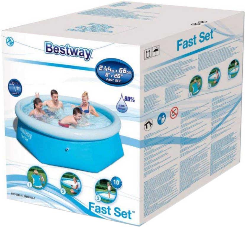 BESTWAY Fast Set Bazén samostavěcí 244x66cmn kulatý rodinný P57265