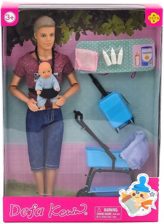 Panenka Defa panák otec Kevin set s kočárkem a dítětem s doplňky v krabici