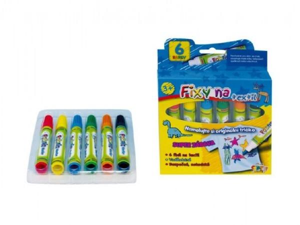 Fixy na textil vodě odolné 6ks v krabičce 13x13cm