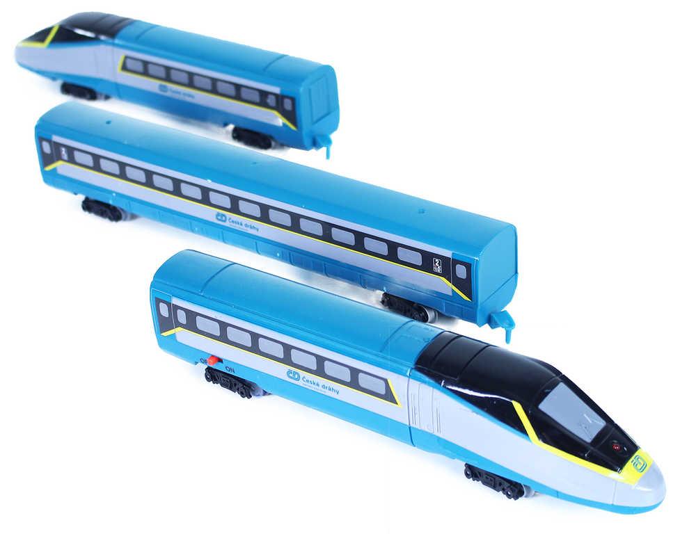 Vlak ČD SC České Dráhy Super City Pendolino s kolejemi na baterie Světlo Zvuk