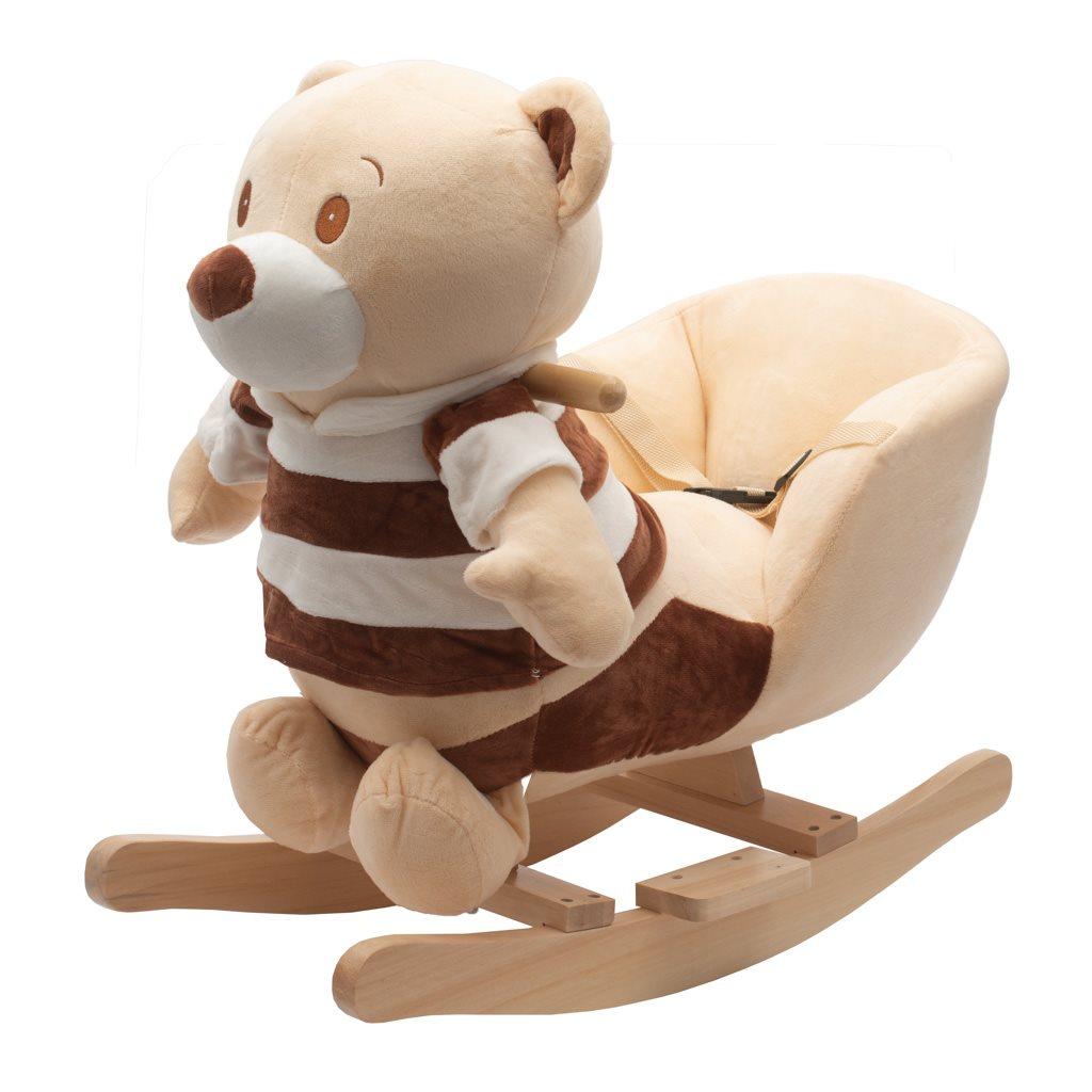 Houpací hračka s melodií PlayTo medvídek pruhovaný - hnědá
