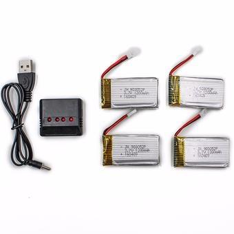 4x 1200mAh 3,7V + nabíječka na 4 baterie pro X5CSW, X5Cs...