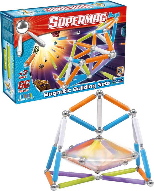 SUPERMAG SuperMaxi Fluo zářivé barvy 66 dílků MAGNETICKÁ STAVEBNICE