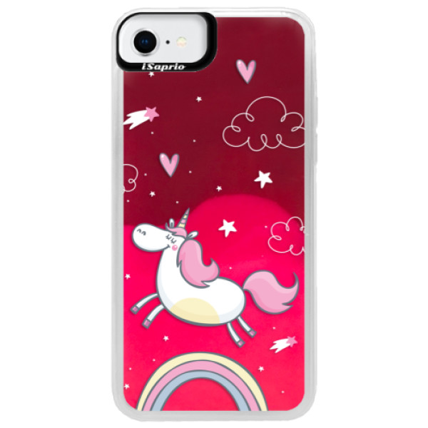 Neonové pouzdro Pink iSaprio - Unicorn 01 - iPhone SE 2020