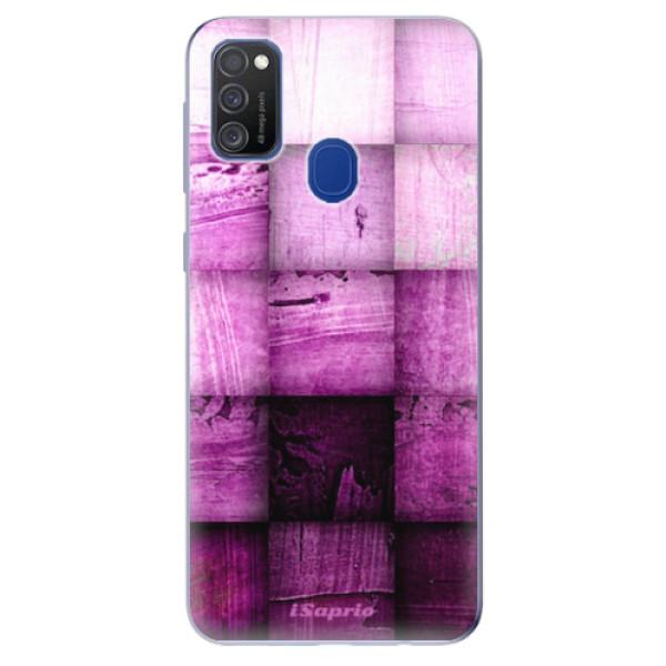 Odolné silikonové pouzdro iSaprio - Purple Squares - Samsung Galaxy M21