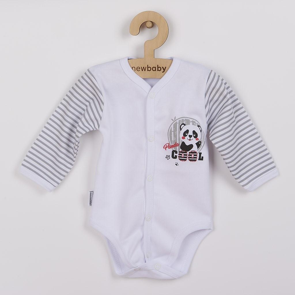 Kojenecké celorozepínací body s dlouhým rukávem New Baby Panda