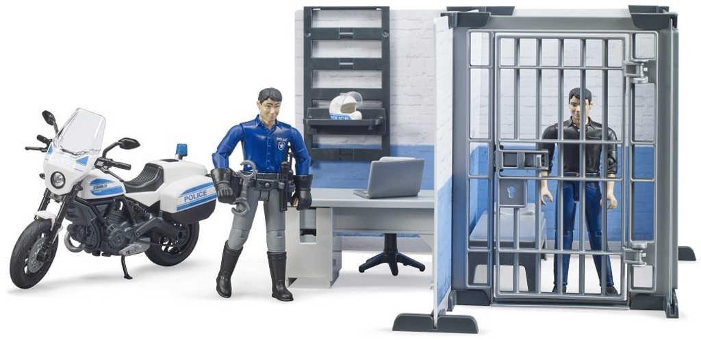 BRUDER 62732 Stanice policejní herní set s motocyklem a 2 figurkami
