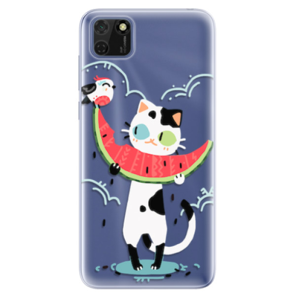 Odolné silikonové pouzdro iSaprio - Cat with melon - Huawei Y5p