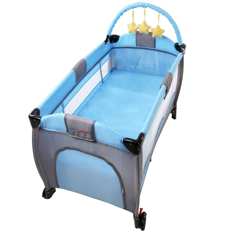 Cestovní dětská postýlka s přebalovacím pultem, modrá/šedá
