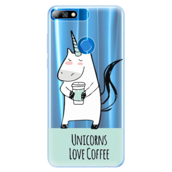 Silikonové pouzdro iSaprio - Unicorns Love Coffee - Huawei Y7 Prime 2018