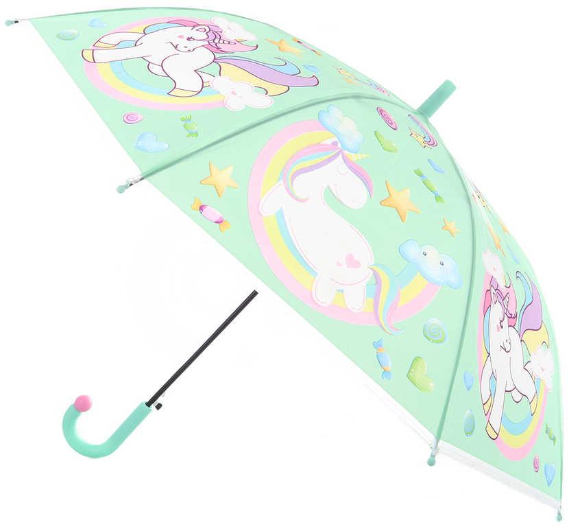 Deštník dětský jednorožci vystřelovací 84x66cm pro holky 4 barvy