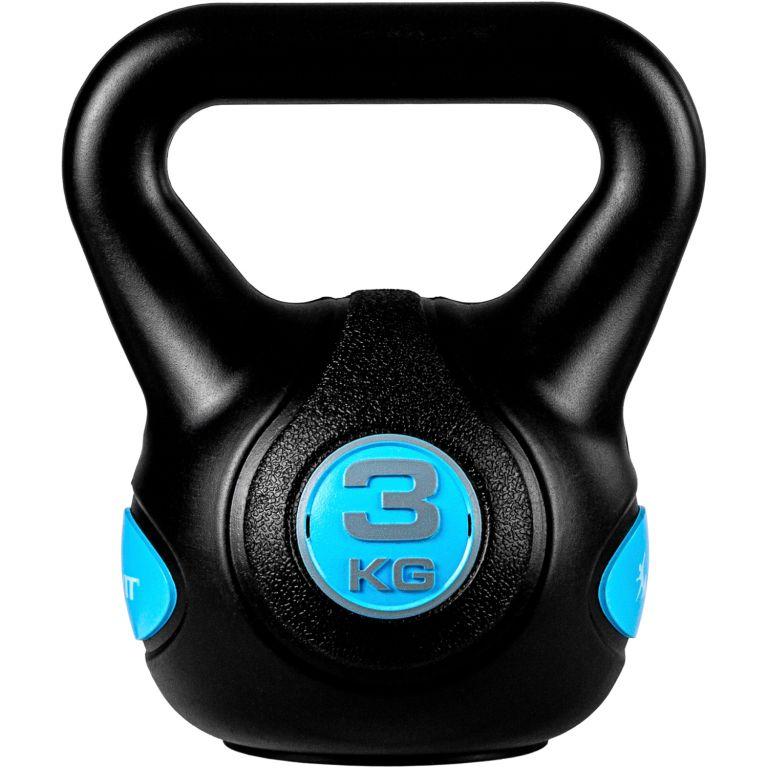 MOVIT Kettlebell činka - 3 kg, černá/světle modrá
