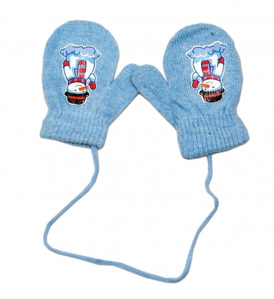 Zimní kojenecké rukavičky vlněné - se šňůrkou a potiskem YO - sv.