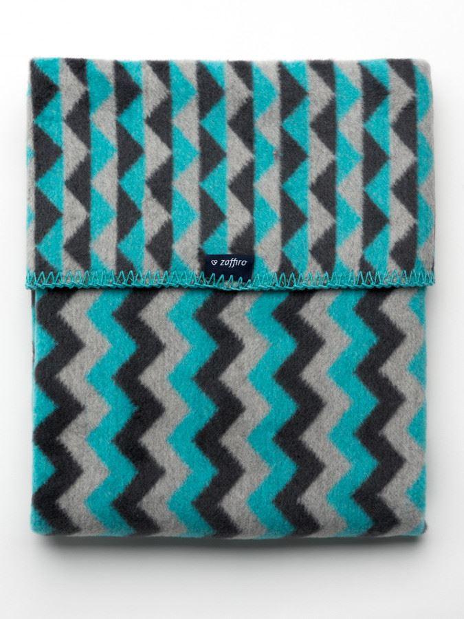 Dětská bavlněná deka se vzorem Cik-Cak Womar 75x100 grafitovo-šedo-tyrkysová - dle obrázku