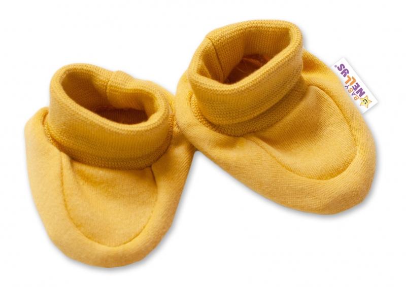 Baby Nellys Kojenecké botičky, ponožtičky Dogs - hořčicové - 56 (1-2m)