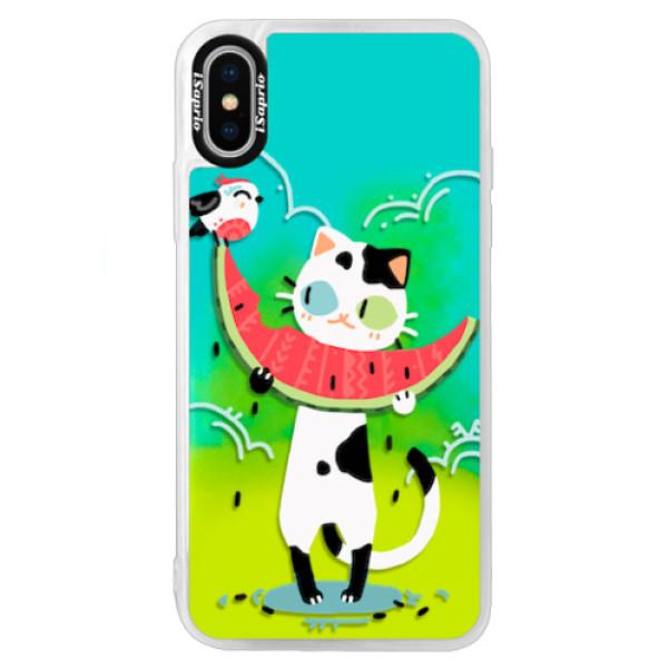Neonové pouzdro Blue iSaprio - Cat with melon - iPhone XS