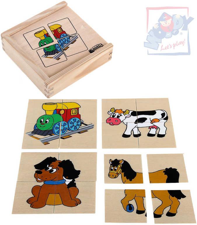 """WOODY DŘEVO Minipuzzle """"Mašinka"""" v dřevěné krabičce * DŘEVĚNÉ HRAČKY *"""