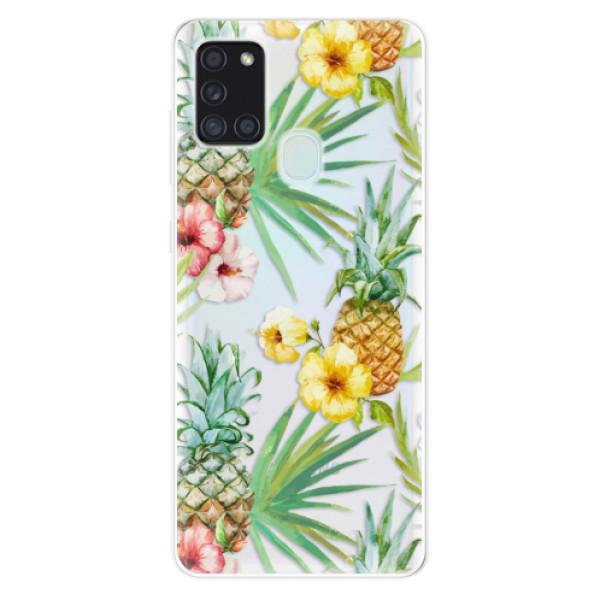 Odolné silikonové pouzdro iSaprio - Pineapple Pattern 02 - Samsung Galaxy A21s