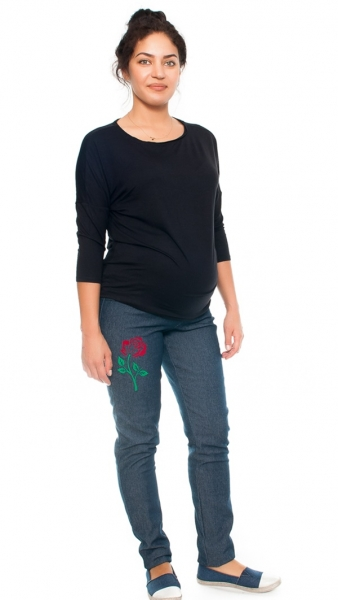 Be MaaMaa Těhotenské kalhoty/jeans s potiskem růže