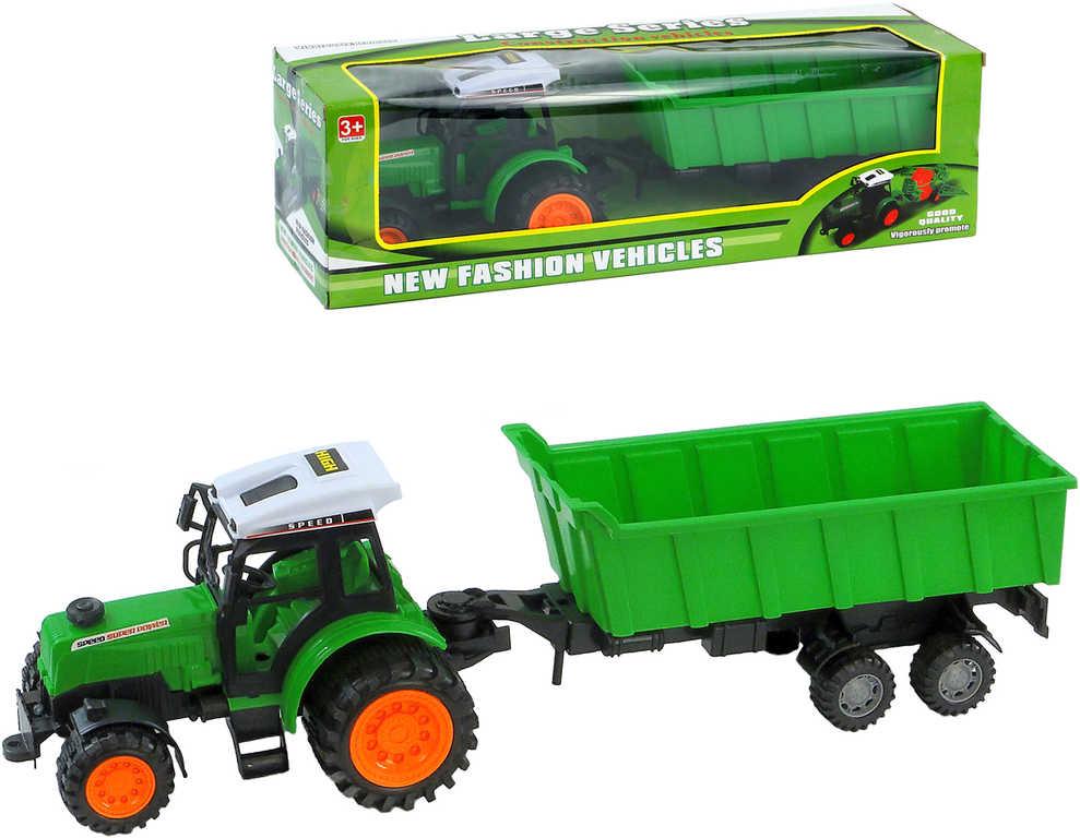 Traktor zelený 23cm set s přívěsem v krabici plast