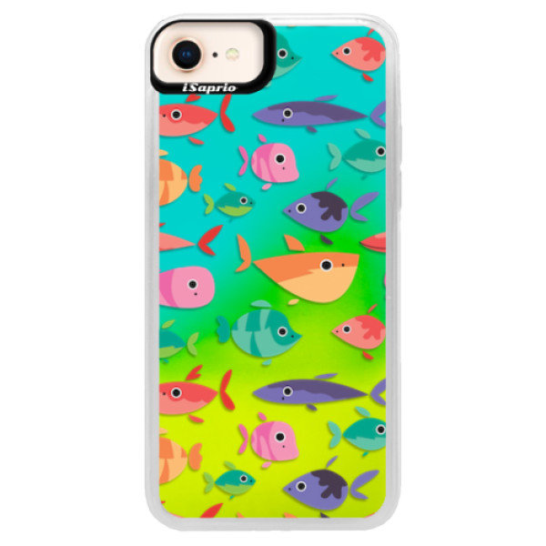 Neonové pouzdro Blue iSaprio - Fish pattern 01 - iPhone 8