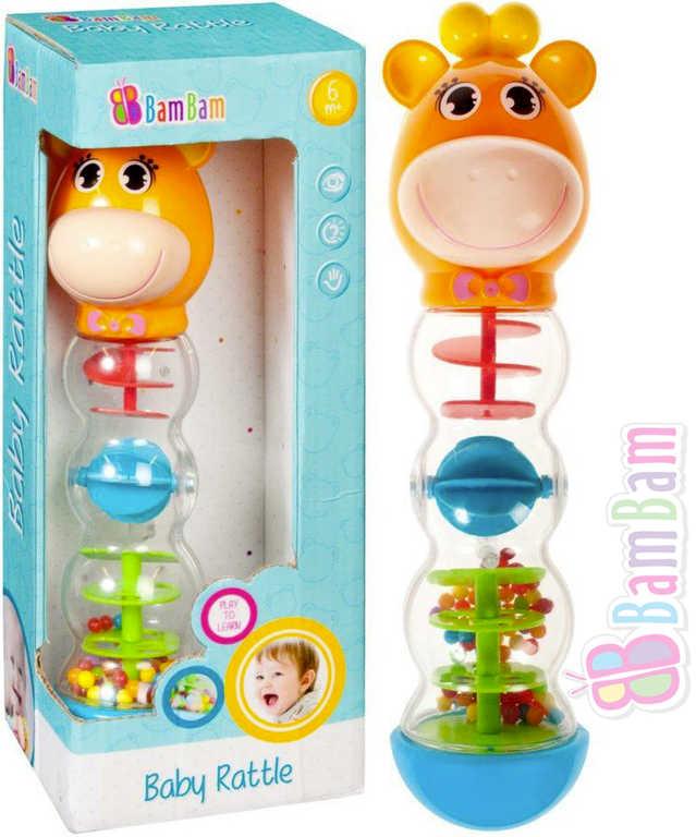 ET BAM BAM Baby chrastítko kuličkové žirafa s bludištěm pro miminko plast
