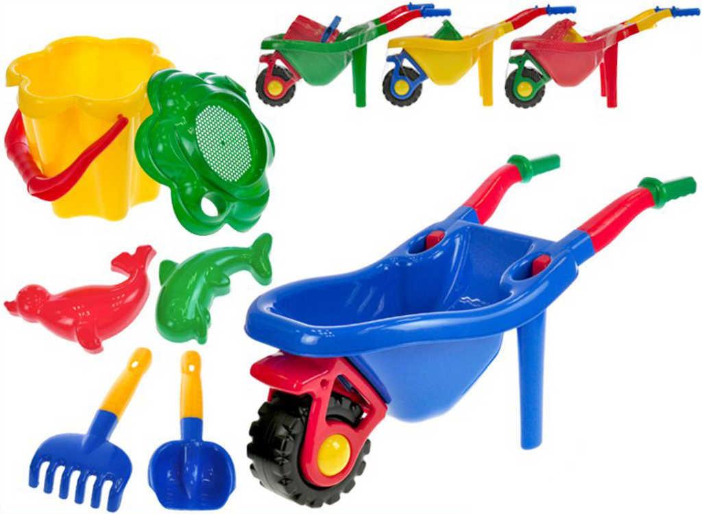 MAD Kolečko plastové + pískový set s formičkami a nástroji různé barvy