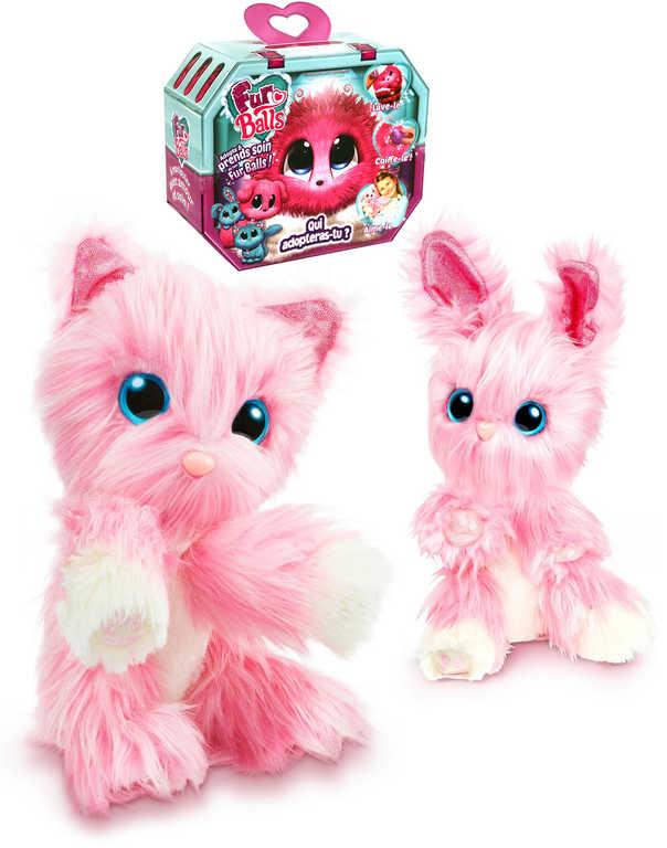 PLYŠ Zvířátko FUR BALLS Touláček růžový 10cm set s obojkem doplňky 3 druhy
