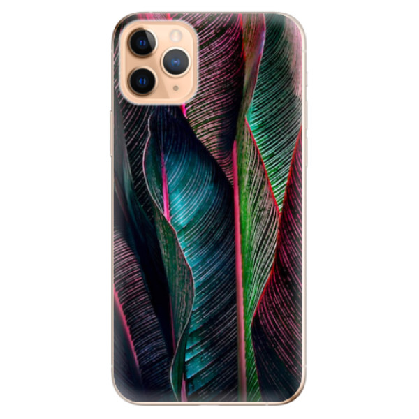 Odolné silikonové pouzdro iSaprio - Black Leaves - iPhone 11 Pro Max