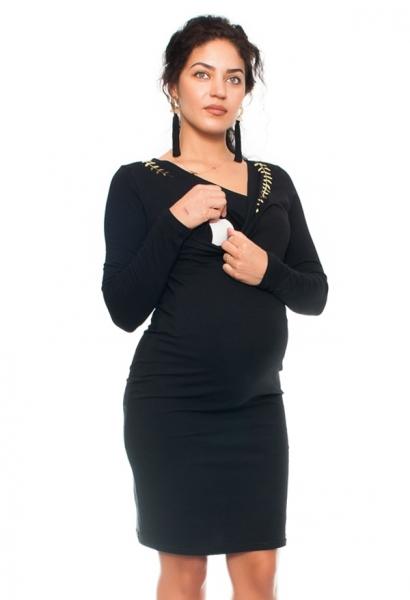 Be MaaMaa Elegantní těhotenské a kojící šaty s výšivkou