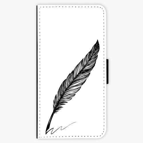Flipové pouzdro iSaprio - Writing By Feather - black - iPhone 7 Plus
