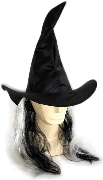 KARNEVAL Klobouk čarodějnický s vlasy dospělý KARNEVALOVÝ DOPLNĚK