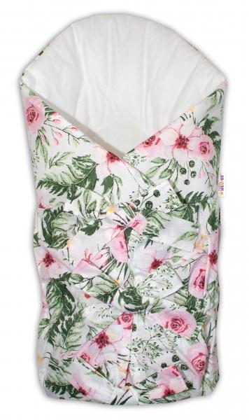 baby-nellys-klasicka-retro-snerovaci-zavinovacka-flowers-bila
