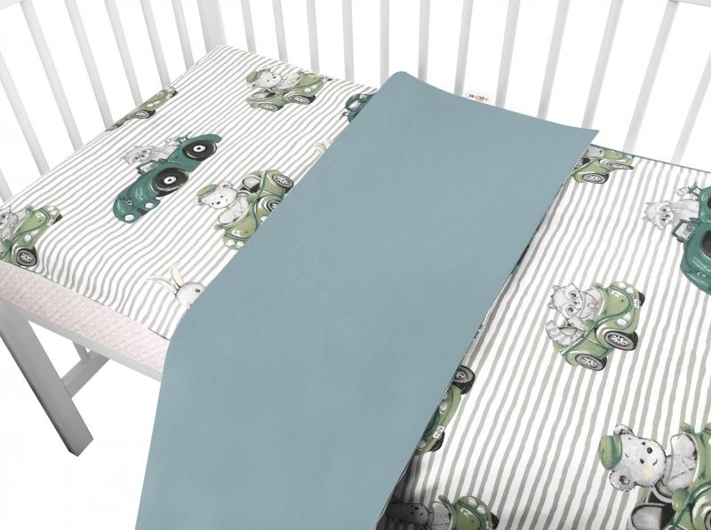baby-nellys-2-dilne-bavlnene-povleceni-baby-car-zelena-135-x-100-cm-135x100