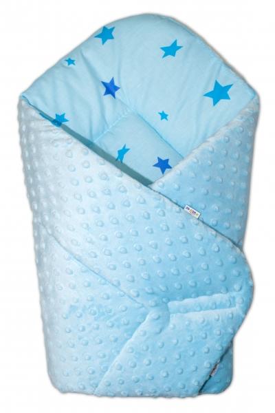 Oboustranná rychlozavinovačka 75x75cm s minky Baby Stars modré - sv. modrá