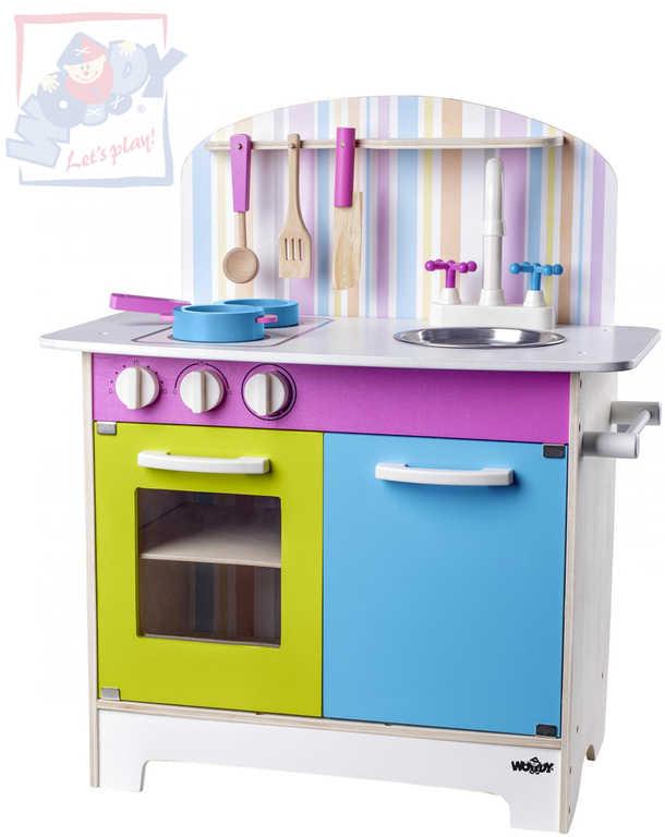 WOODY DŘEVO Kuchyňka dětská Julia proužkovaná set s doplňky *DŘEVĚNÉ HRAČKY*