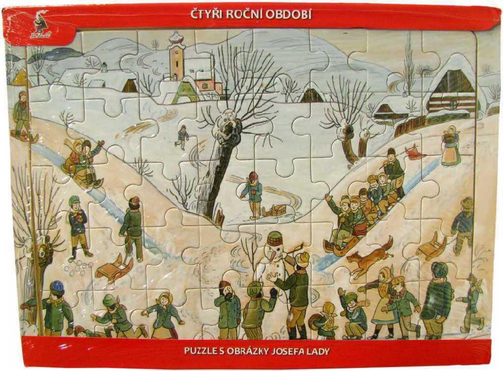 DŘEVO Puzzle Josef Lada 4 roční období *DŘEVĚNÉ HRAČKY*