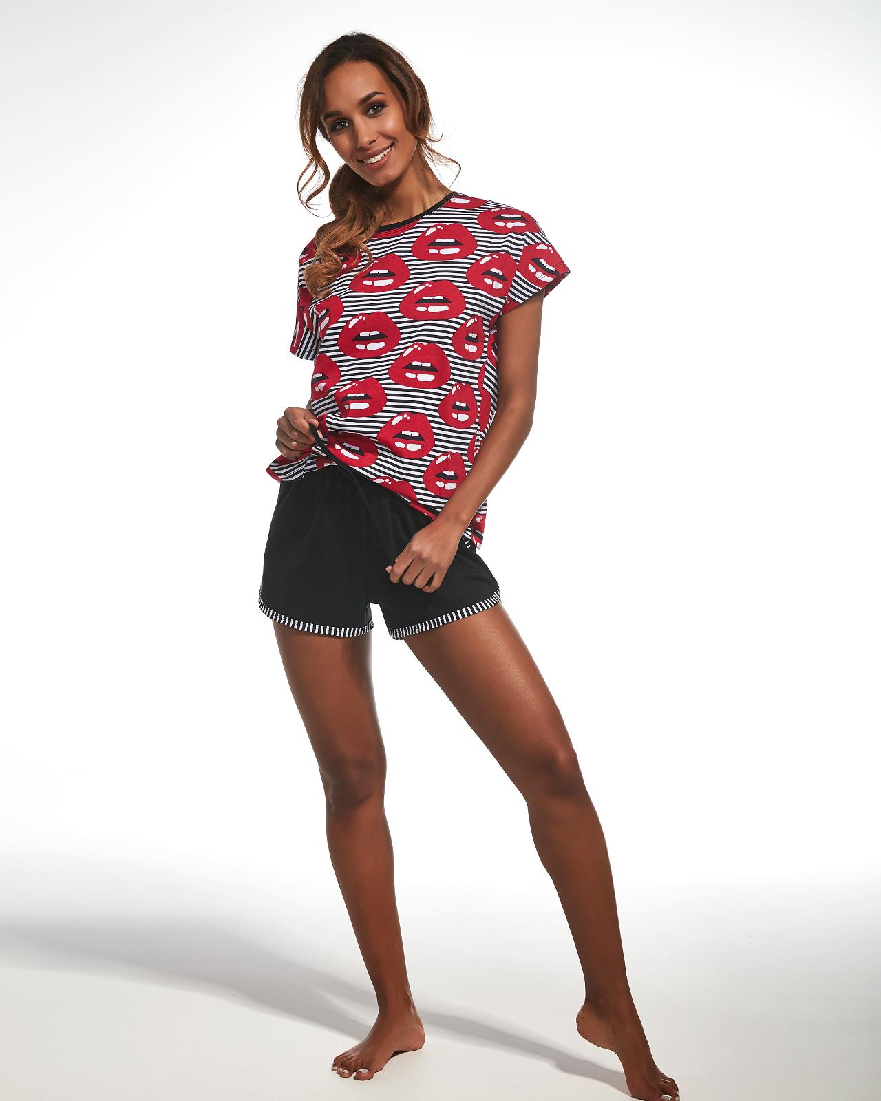 Dámské pyžamo Cornette 343/139 Red Lips kr/r