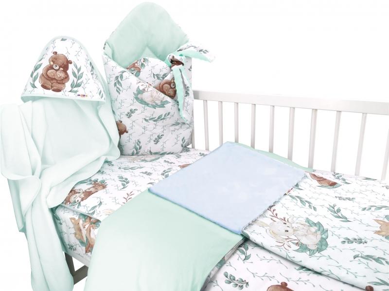 Baby Nellys 6-dílná sada do kolébky LULU natural, mátová - 90x40