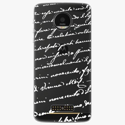 Plastový kryt iSaprio - Handwriting 01 - white - Lenovo Moto Z