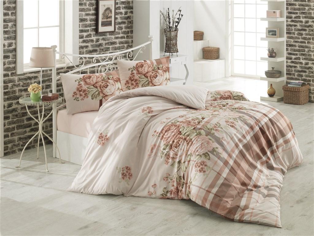 Povlečení francouzské bavlna 220x220, 70x90 Evelina béžová, Výběr zapínání: