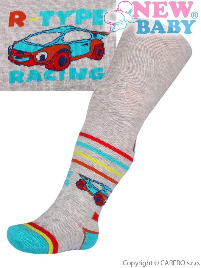Bavlněné punčocháčky New Baby 3xABS šedé racing