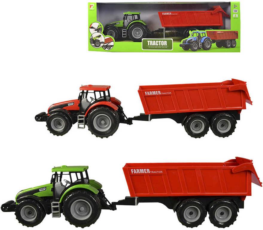 Traktor zemědělský set s přívěsem na setrvačník 2 barvy v krabičce
