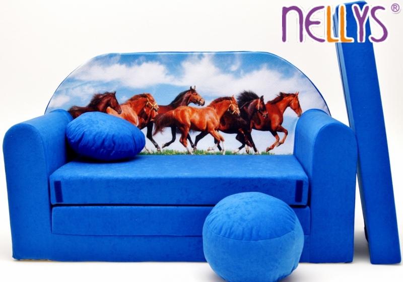 Rozkládací dětská pohovka 57R - Koně v modré
