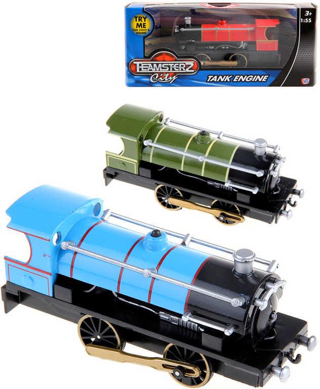 Teamsterz parní lokomotiva kovová na baterie Světlo Zvuk různé barvy