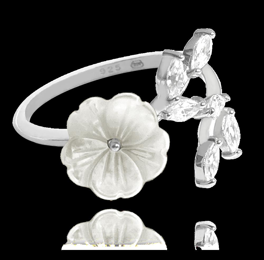 Stříbrný prsten MINET SNAKE s bílými zirkony vel. 58