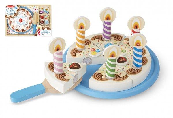 Narozeninový dort 34 ks dřevěný s doplňky 33 x 23 x 4 cm