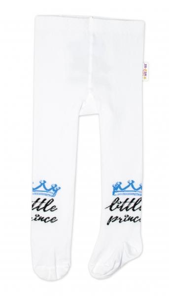 Baby Nellys Dětské punčocháče bavlněné, Little Prince - bílé s modrou